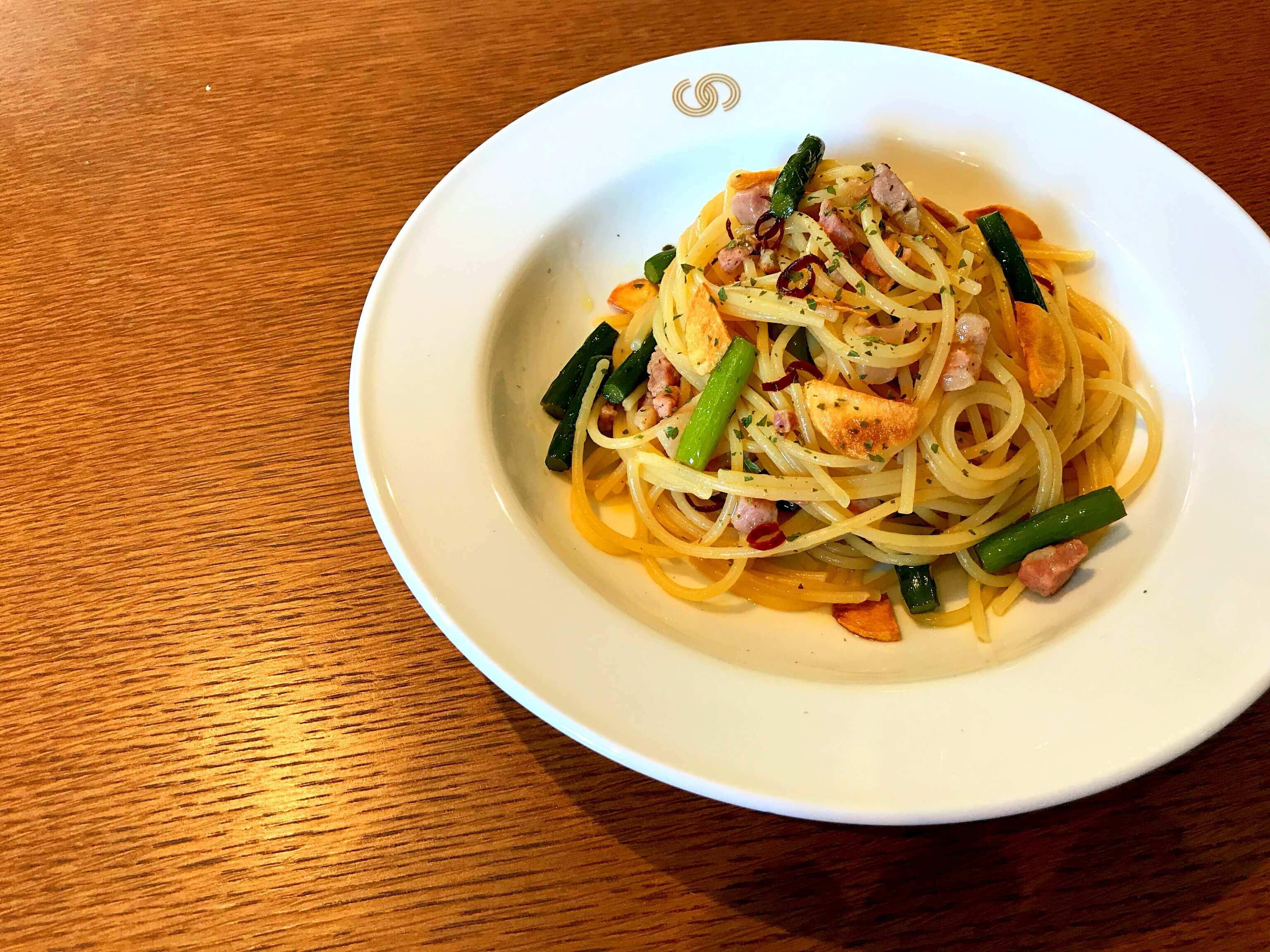 【カフェ風】ニンニクの芽とベーコンのパスタのレシピ