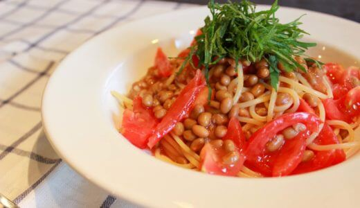 【混ぜるだけ!】納豆とトマトの冷製パスタのレシピ