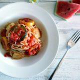 スイカの皮のトマトパスタ2
