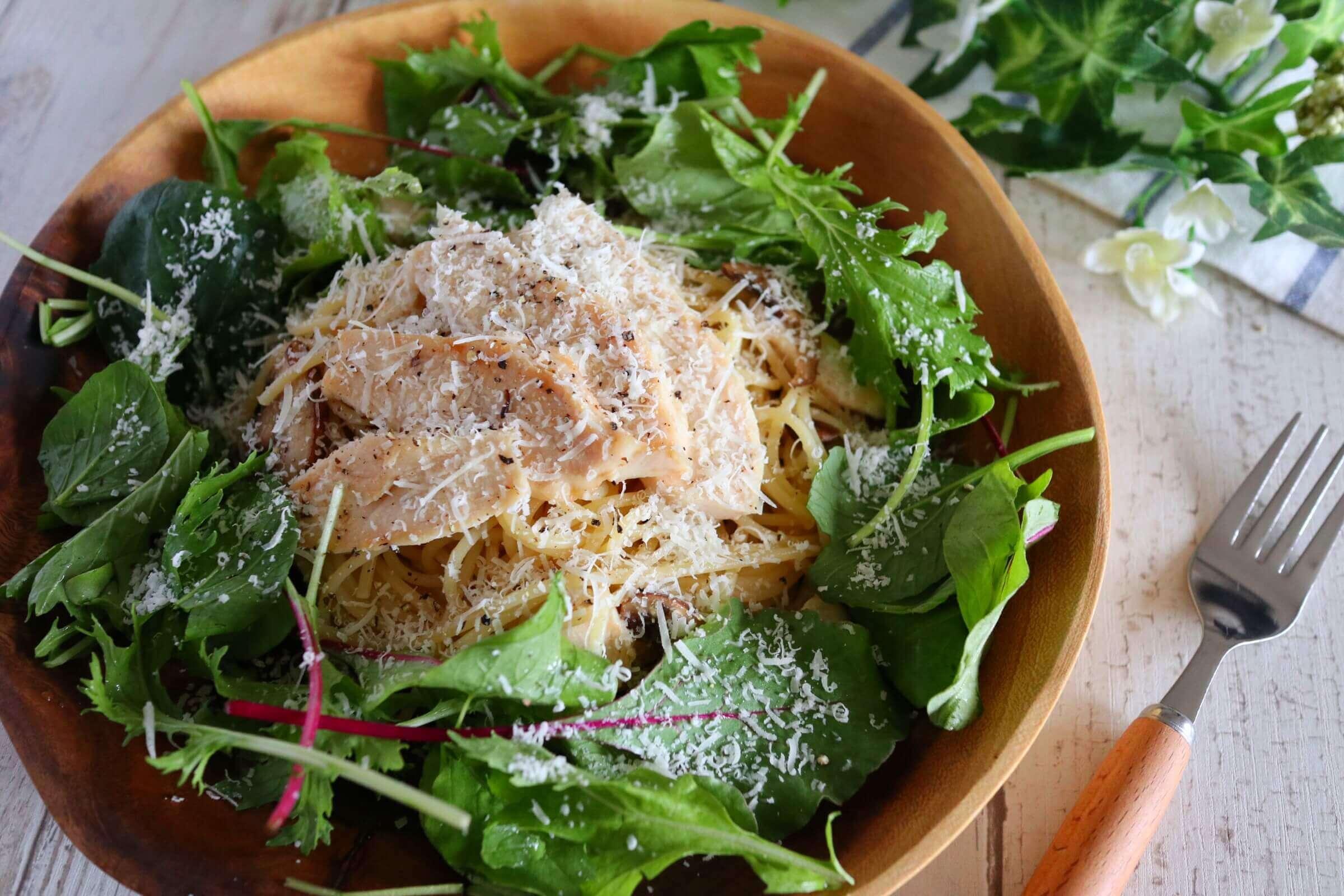 【超簡単!】サラダチキンのさっぱりパスタのレシピ