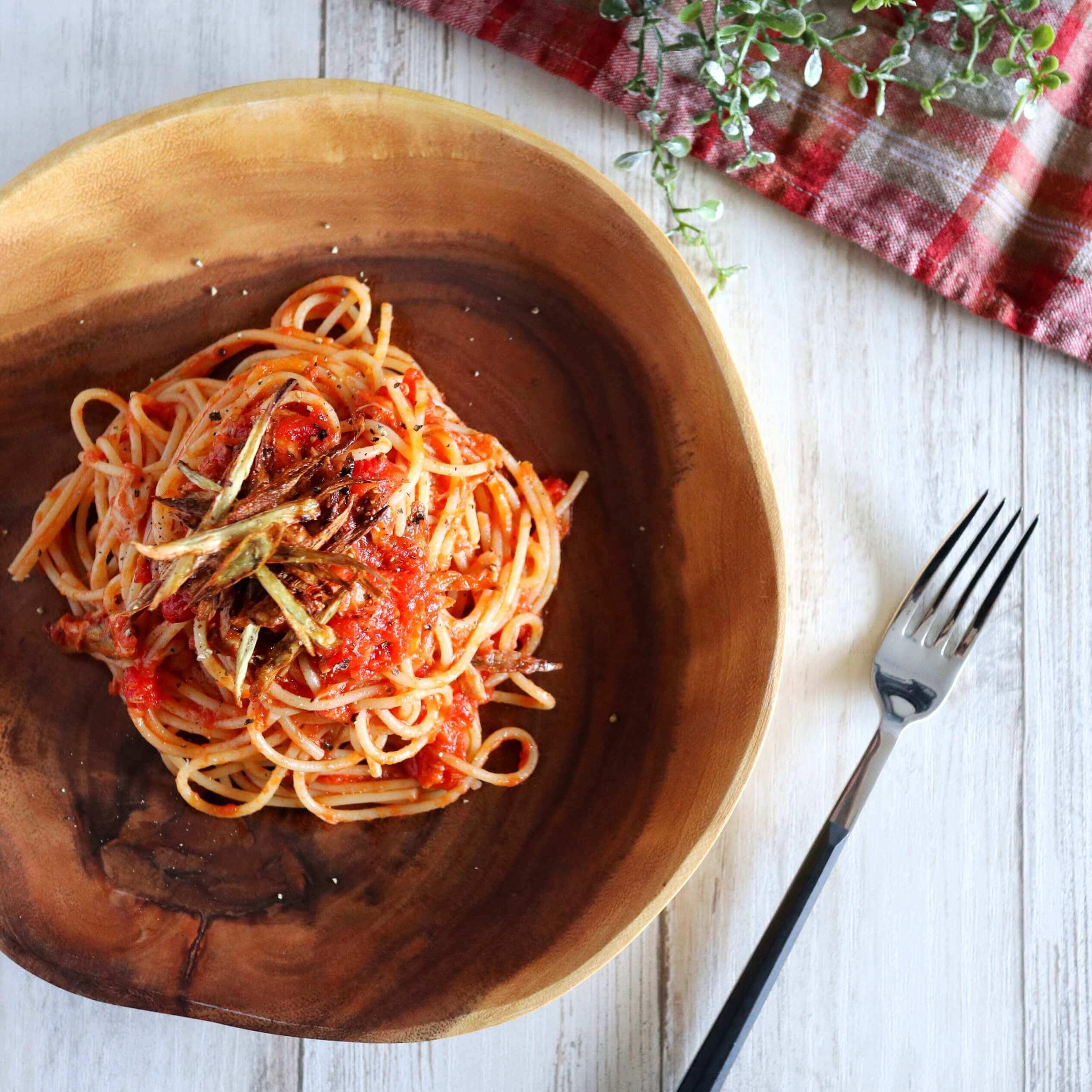 【大絶賛!】ツナとごぼうのトマトパスタのレシピ