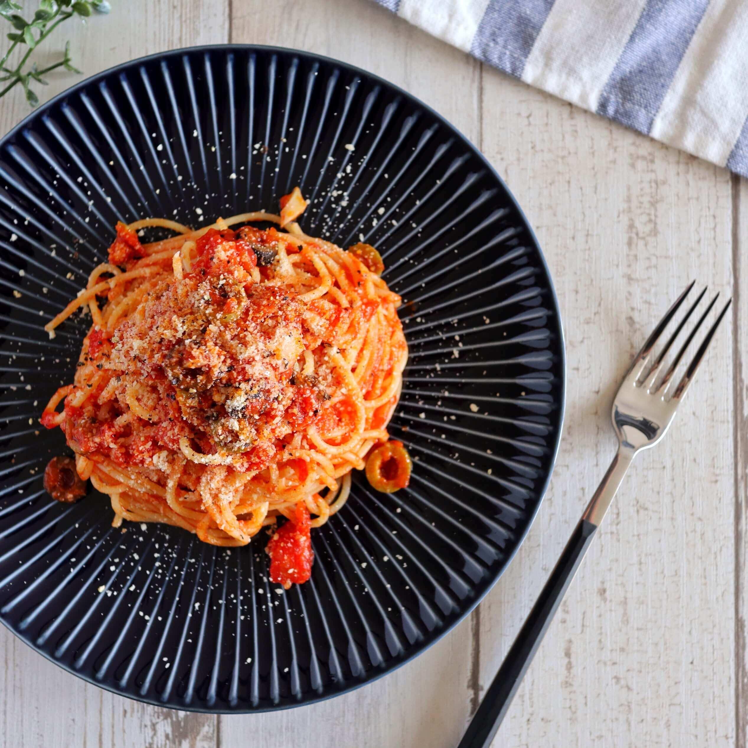 【簡単ランチに】オリーブのトマトパスタのレシピ