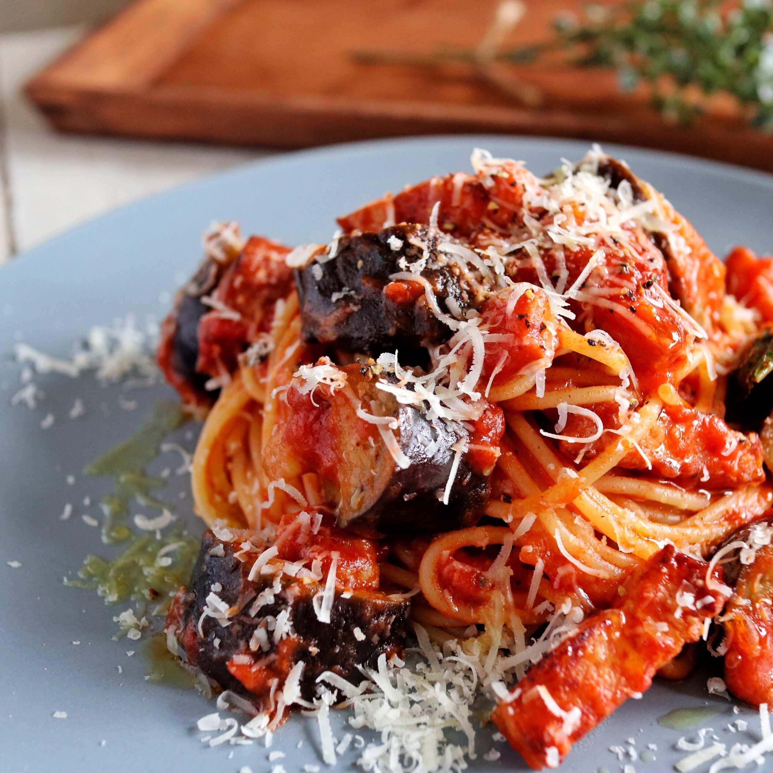 【超簡単!】なすとベーコンのトマトパスタのレシピ