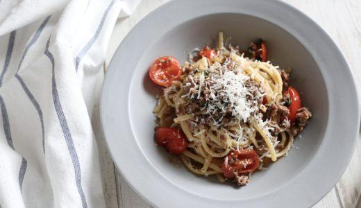 【大絶賛!】挽肉とトマトの赤ワイン煮パスタ