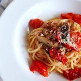 椎茸とトマトのオイルパスタ