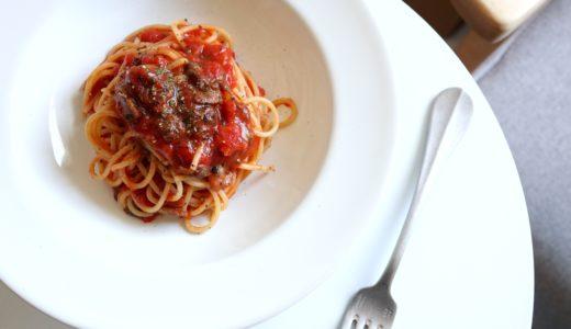 【缶詰で簡単!】赤貝のトマトパスタ