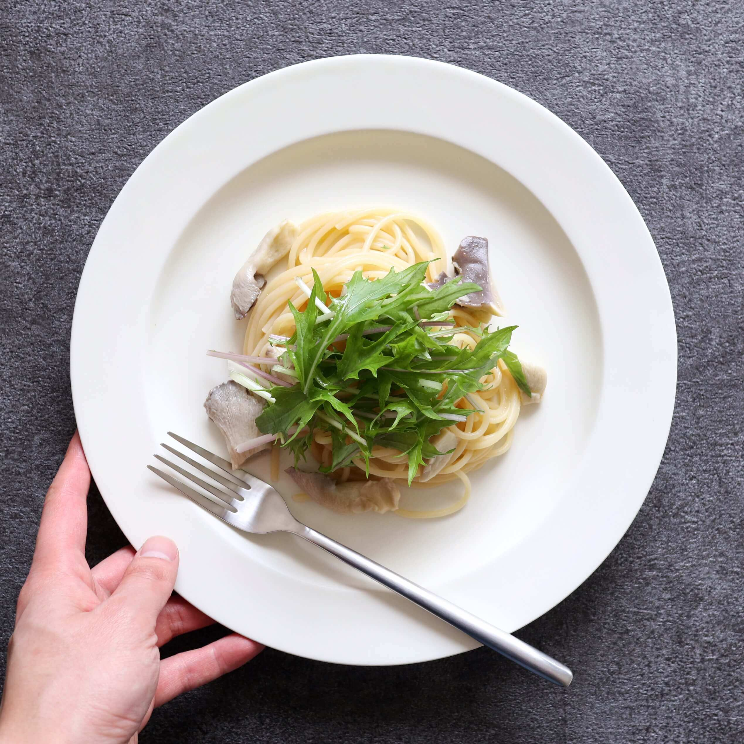 【絶品!】あわび茸と水菜の和風パスタのレシピ