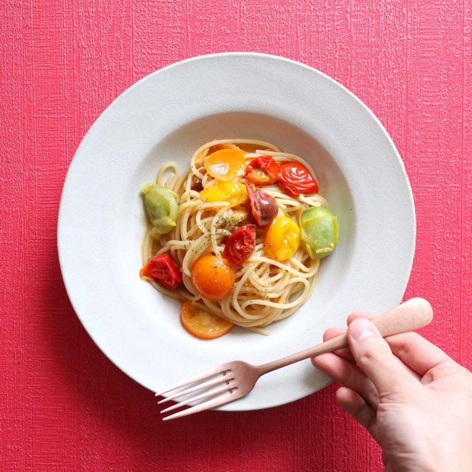 金柑とトマトのオイルパスタ