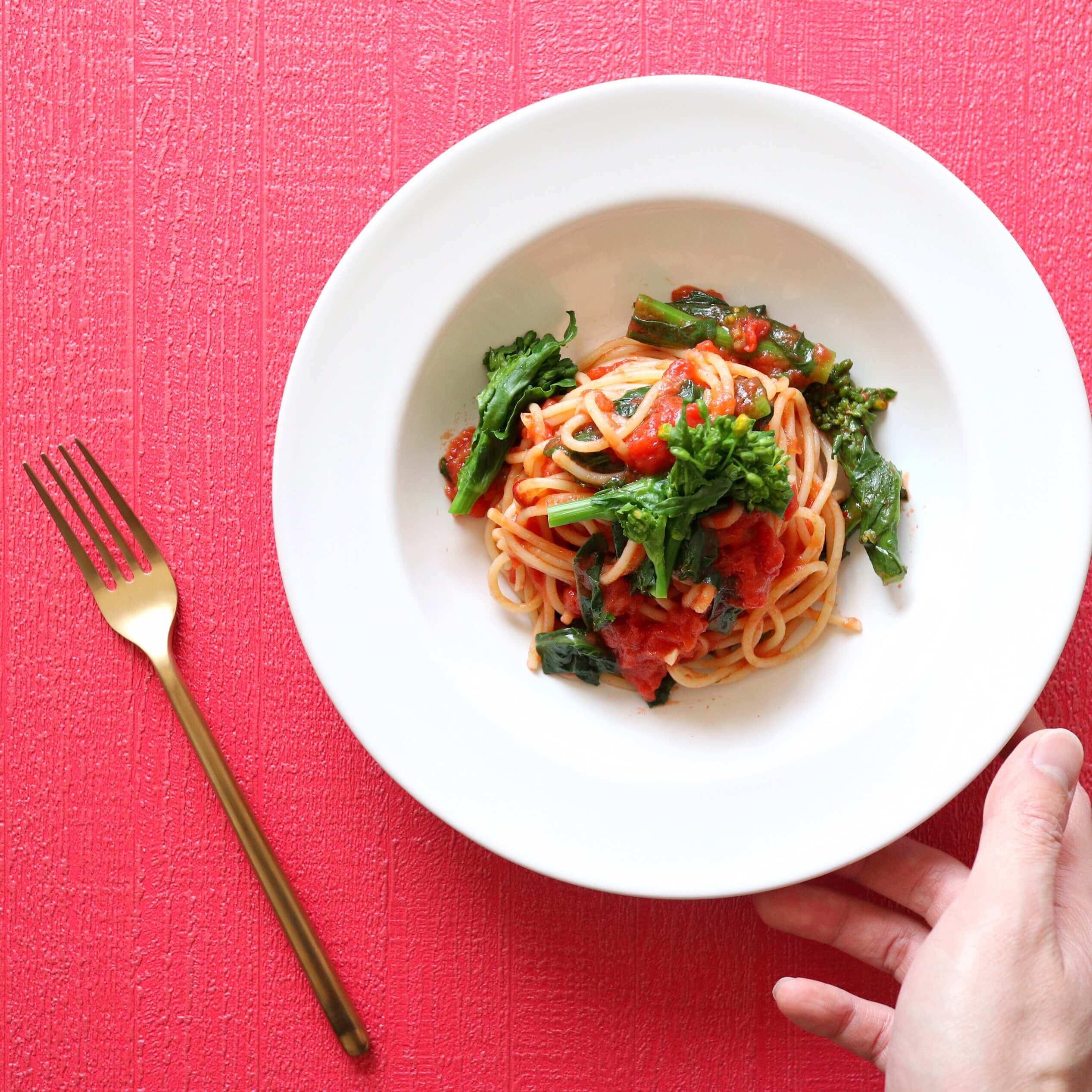 菜の花のトマトパスタ