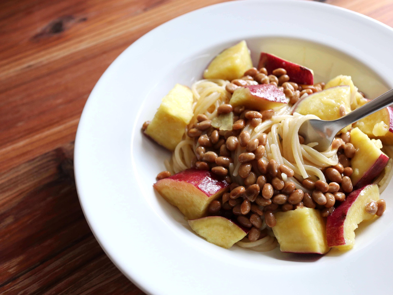 【混ぜるだけ】さつまいもと納豆のパスタのレシピ