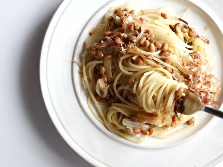 キャベツと納豆の和風パスタ