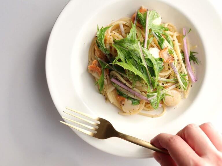 ホタテと水菜のオイルパスタ