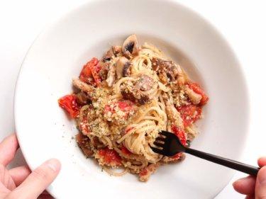 【新食感!】鰯缶とミニトマトの旨味パスタのレシピ