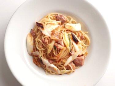 【フライパン不要】焼き鳥と長ねぎキムチのパスタのレシピ