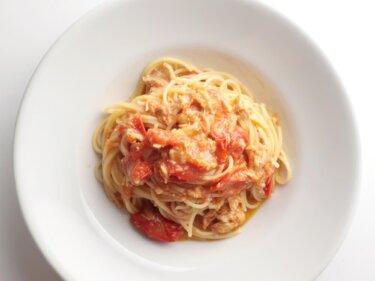 【レンジで5分】ミニトマトとツナのレンチンパスタのレシピ
