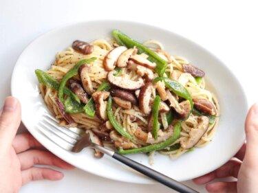 【旨み全開】椎茸とピーマンのアンチョビバターパスタのレシピ