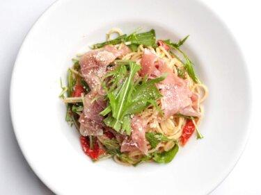 【フライパン不要】水菜と生ハムのパスタのレシピ