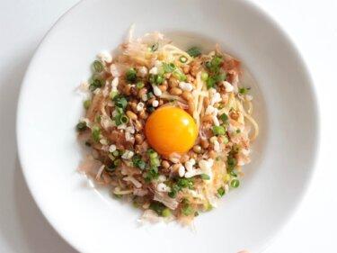 【サクサク食感】天かす納豆パスタのレシピ