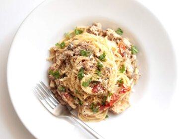 【旨み凝縮】鯖缶とセミドライトマトのシチリア風パスタのレシピ