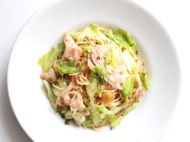 【大葉でさっぱり】豚バラとキャベツの和風オイルパスタのレシピ