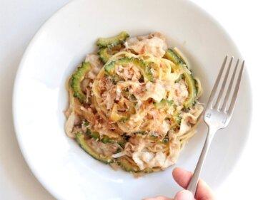 【おうちで簡単】豚肉とゴーヤの和風オイルパスタのレシピ