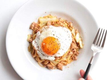 【味噌が決め手】豚ひき肉とキャベツの和風パスタのレシピ